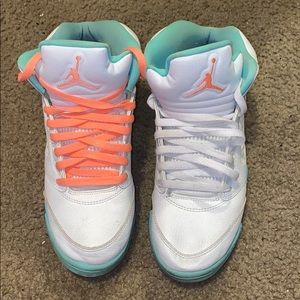 Air Jordan 5 White Aqua 8y Girls
